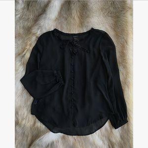 Black long sleeved Ann Taylor blouse